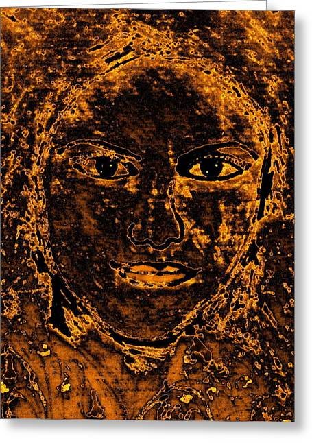 Portrait Of An Ancient Woman Greeting Card