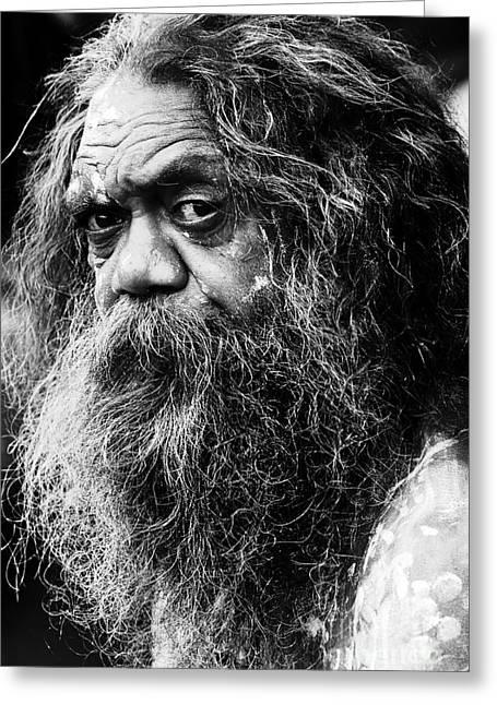 Portrait Of An Australian Aborigine Greeting Card by Avalon Fine Art Photography