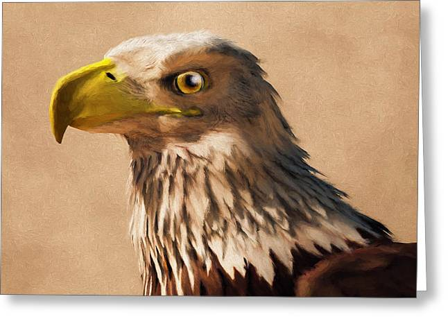 Greeting Card featuring the digital art Portrait Of An Eagle by Daniel Eskridge