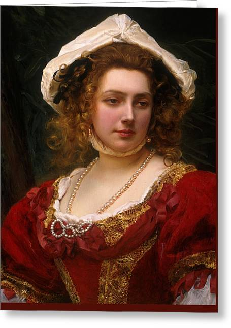 Portrait Of An Elegant Lady In A Red Velvet Dress Greeting Card by Gustave Jacquet