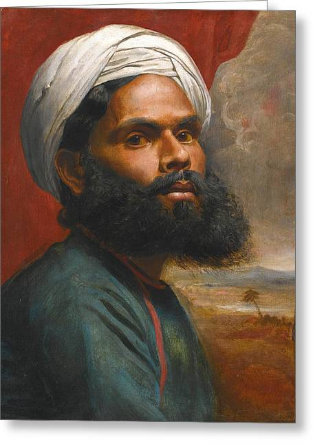 Greeting Card featuring the painting Portrait Of An Indian Sardar by Edwin Frederick Holt