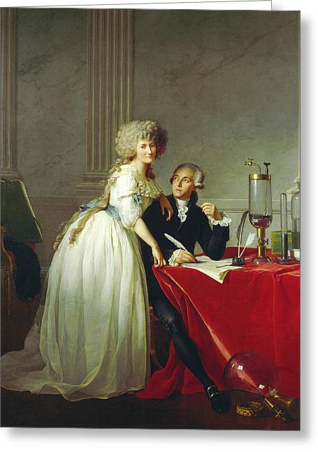 Portrait Of Antoine-laurent Lavoisier And His Wife Greeting Card by Jacques-Louis David