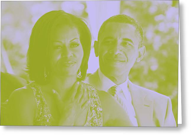 Portrait Of Barack And Michelle Obama Greeting Card by Asar Studios
