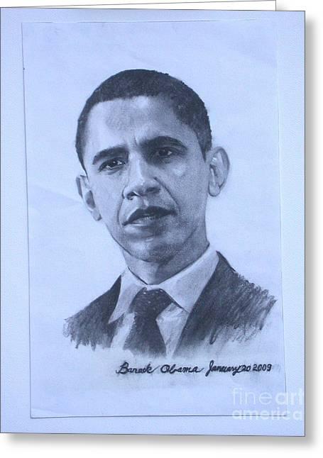portrait of Barack Obama Greeting Card by Sarah Mariam Yi