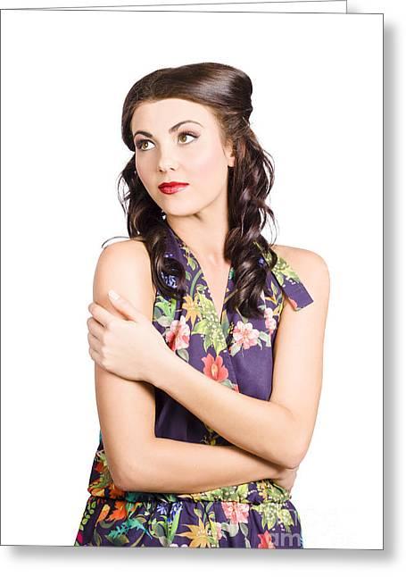 Portrait Of Beautiful Female Fashion Model Greeting Card
