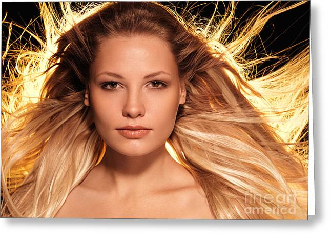 Portrait Of Beautiful Woman Face With Glowing Golden Blond Hair Greeting Card by Oleksiy Maksymenko
