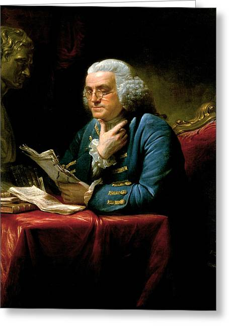 Portrait Of Benjamin Franklin Greeting Card by David Martin