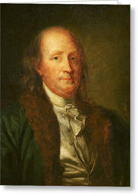Portrait Of Benjamin Franklin Greeting Card