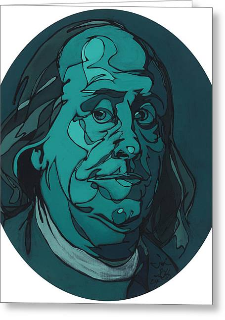 Portrait Of Benjamin Franklin Greeting Card