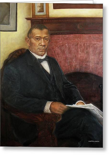 Portrait Of Booker T. Washington Greeting Card by Sylvia Castellanos