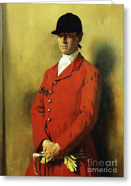 Portrait Of Captain Marshall Roberts, Master Of The Fox Hounds Greeting Card by William Orpen
