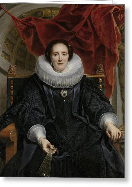 Portrait Of Catharina Behaghel Greeting Card by Jacob Jordaens