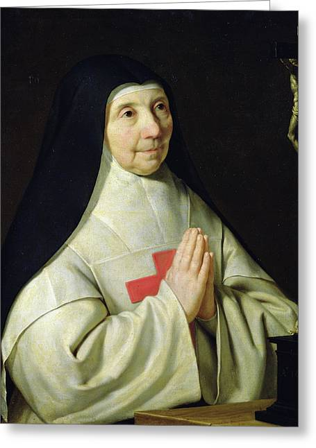 Portrait Of Catherine-agnes Arnauld Greeting Card by Philippe de Champaigne