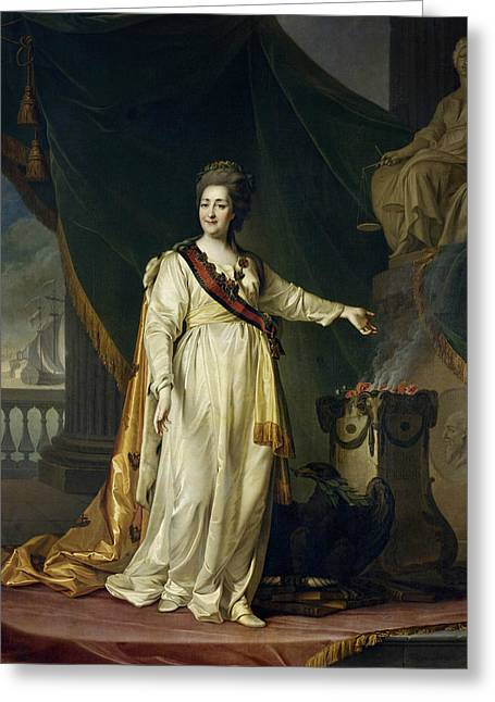 Portrait Of Catherine II The Legislatress In The Temple Of The Goddess Of Justice Greeting Card by Dmitry Levitsky