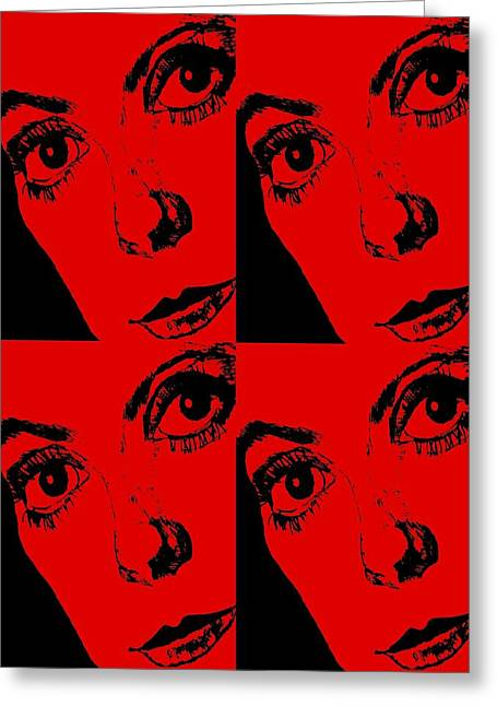 Portrait Of Catherine Pop Art Design Greeting Card