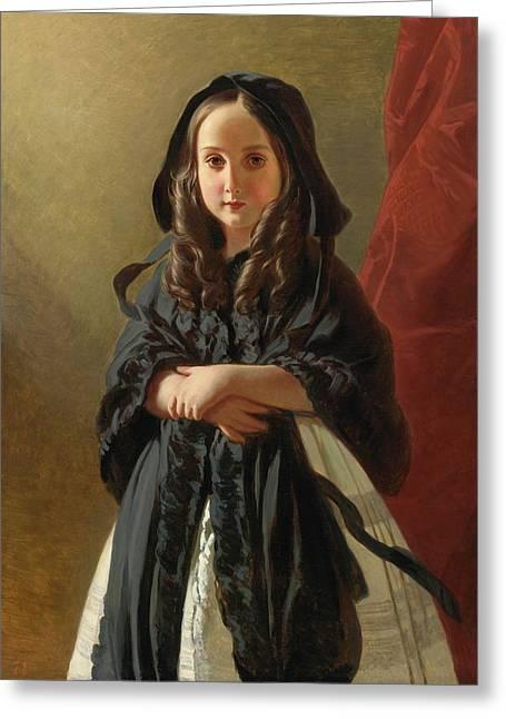Portrait Of Charlotte Greeting Card by Franz Xaver Winterhalter