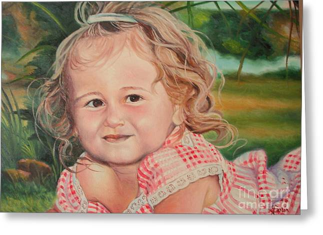 Greeting Card featuring the painting Portrait Of Child by Sorin Apostolescu