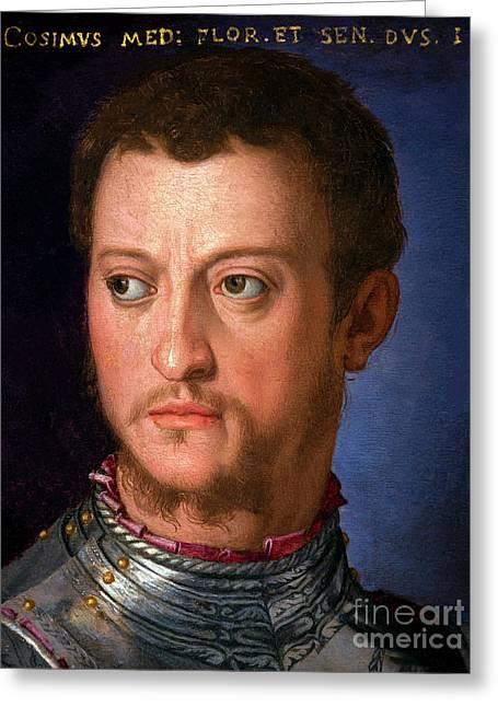 Portrait Of Cosimo I De' Medici, By Agnolo Bronzino, Circa 1560, Greeting Card by Peter Barritt