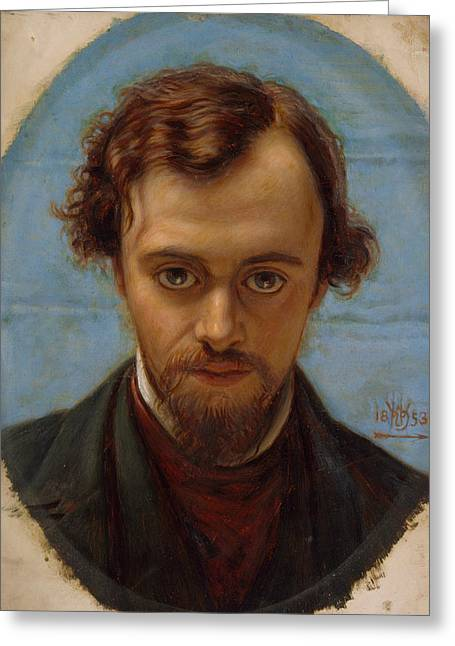 Portrait Of Dante Gabriel Rossetti At 22 Years Of Age Greeting Card