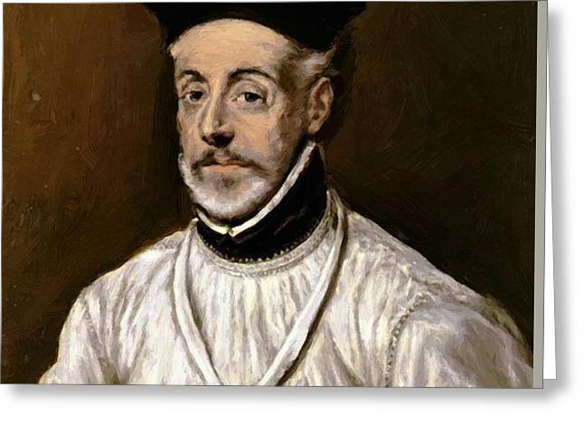 Portrait Of Diego De Covarrubias Greeting Card by El Greco