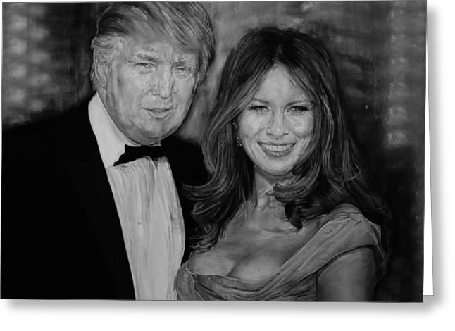 Portrait Of Donald And Melania Trump Greeting Card by Alex Krasky
