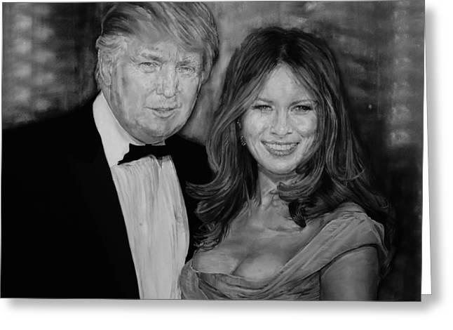 Portrait Of Donald And Melania Trump By Alex Krasky Greeting Card