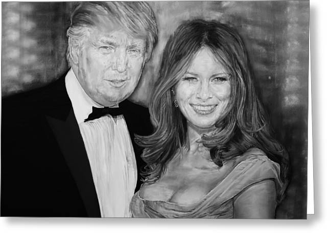 Portrait Of Donald Trump And His Wife Greeting Card by Alex Krasky