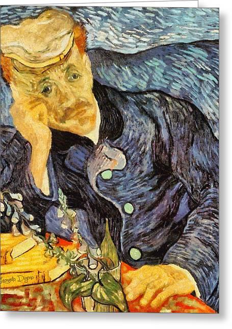 Portrait Of Dr. Gachet By Van Gogh Revisited Greeting Card by Leonardo Digenio
