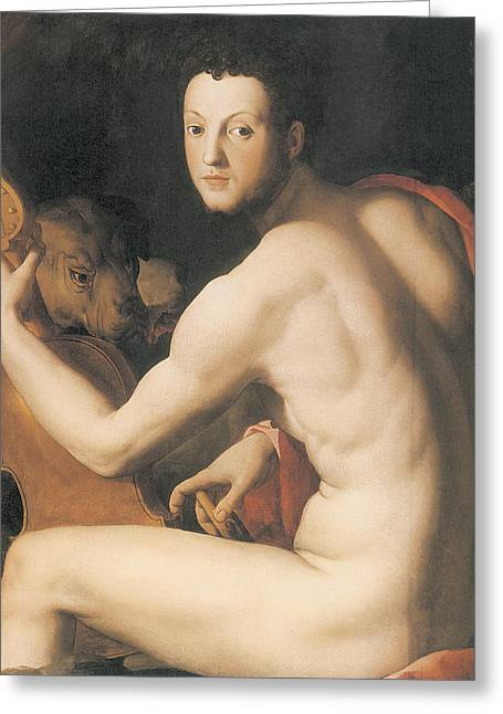 Portrait Of Duke Cosimo I De'medici As Orpheus Greeting Card