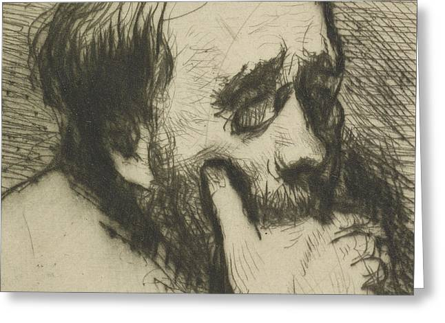 Portrait Of Edgar Degas Greeting Card by Marcellin Gilbert Desboutin