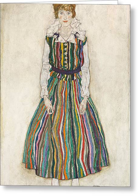 Portrait Of Edith The Artist's Wife 1915 Greeting Card by Egon Schiele