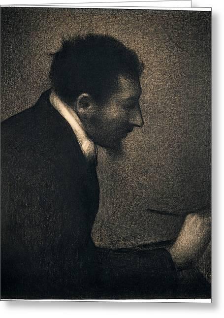 Portrait Of Edmond Francois Aman-jean Greeting Card by Georges Seurat