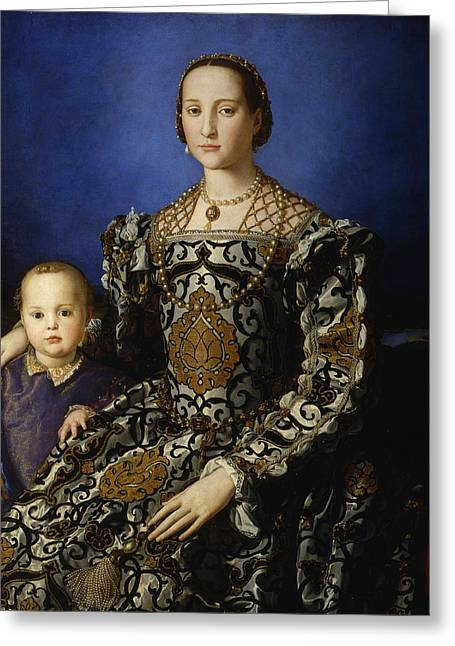 Portrait Of Eleanor Of Toledo With Her Son Giovanni De' Medici  Greeting Card