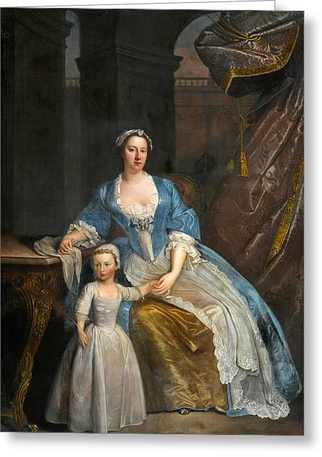 Portrait Of Elizabeth Beckford Full-length Seated In A Loggia With Her Son Peter Greeting Card by Attributed to William Verelst