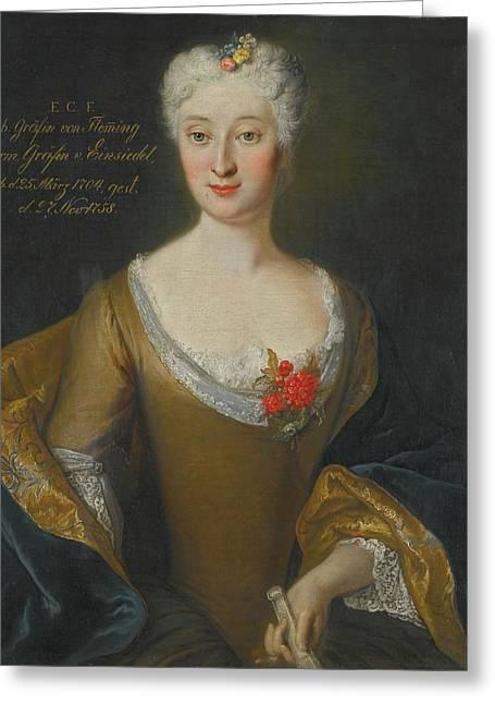 Portrait Of Eva Friederike Charlotte Greeting Card by Louis de