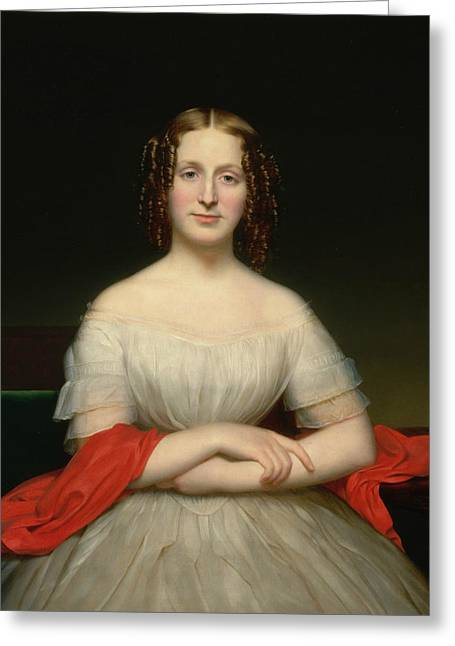 Portrait Of Fidelia Marshall Greeting Card by Charles Cromwell Ingham
