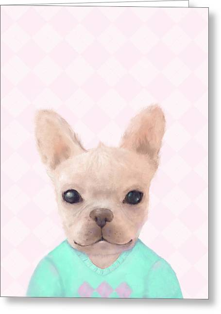 Portrait Of French Bull Dog Greeting Card