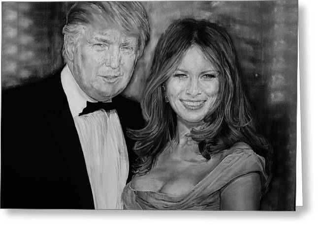 Portrait Of Future President Donald Trump And His Wife Greeting Card by Alex Krasky