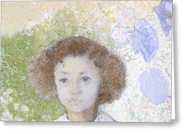 Portrait Of Genevieve De Gonet As A Child Greeting Card
