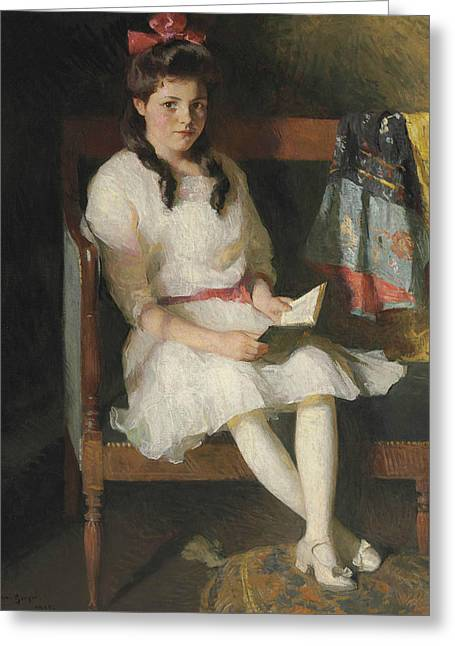 Portrait Of Gertrude Russell Greeting Card by Frank Weston Benson