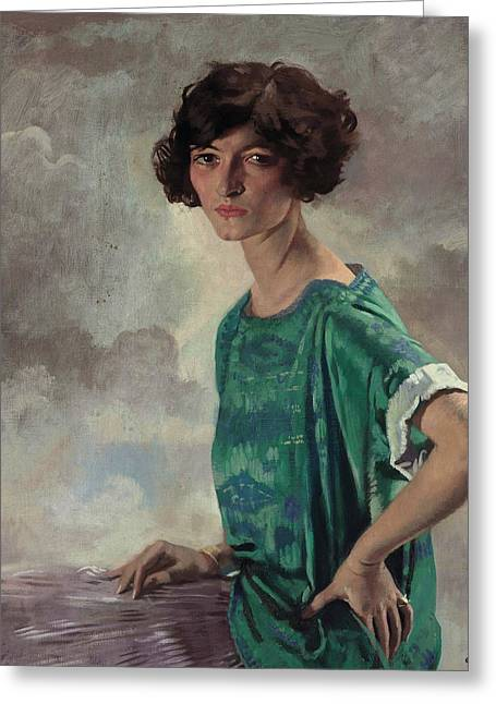 Portrait Of Gertrude Sanford Greeting Card by William Orpen