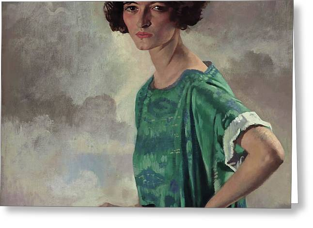 Portrait Of Getrude Sanford Greeting Card by William Orpen