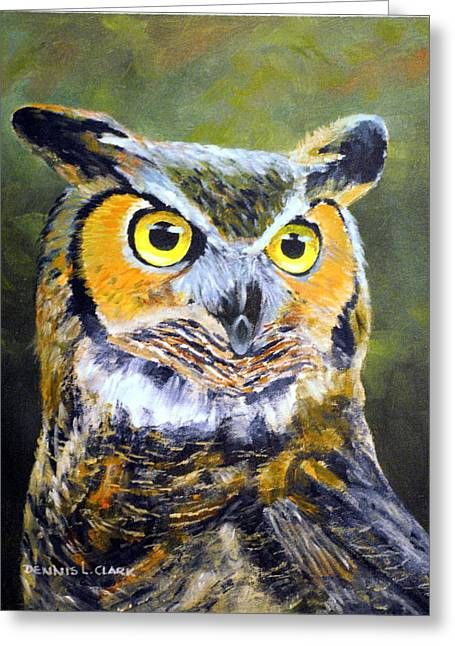 Portrait Of Great Horned Owl Greeting Card by Dennis Clark