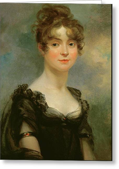 Portrait Of Harriet Leonard Bull  Greeting Card by Arthur William Devis