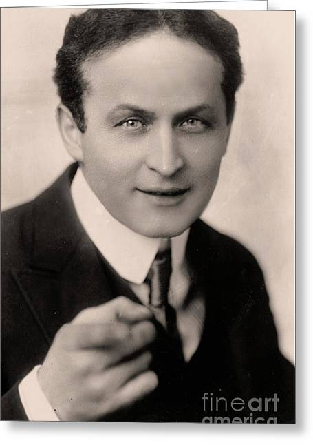 Portrait Of Harry Houdini Greeting Card