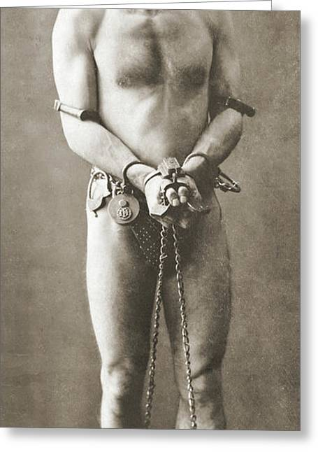 Portrait Of Harry Houdini In Chains, Circa 1900 Greeting Card