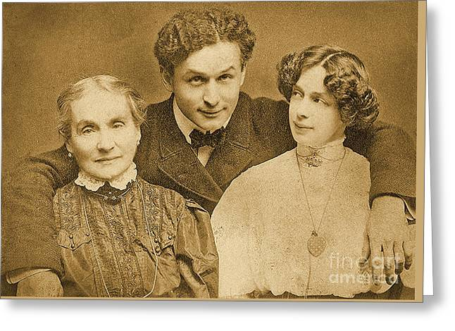 Portrait Of Harry Houdini With Is Mother And Wife Greeting Card