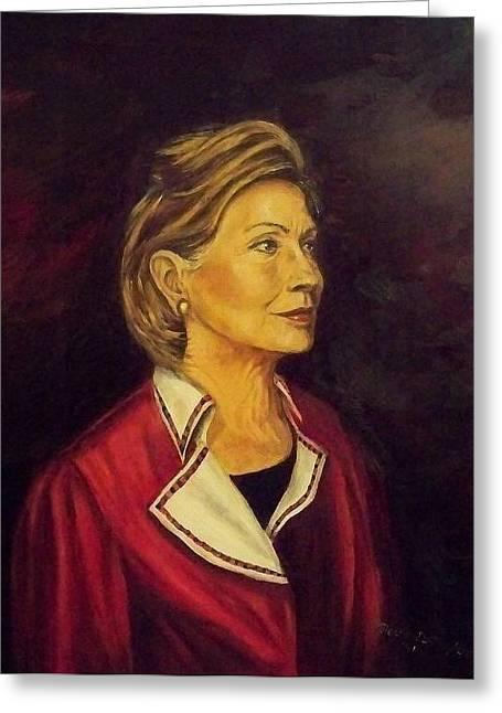 Portrait Of Hillary Clinton Greeting Card by Ricardo Santos-alfonso