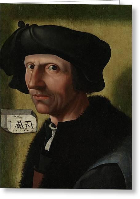 Portrait Of Jacob Cornelisz Van Oostsanen Greeting Card