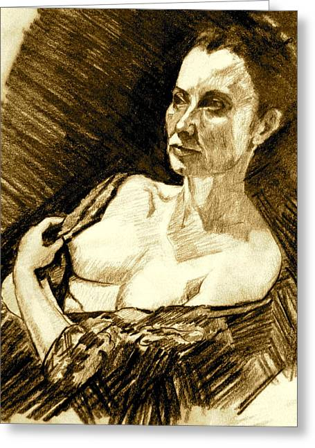 Portrait Of Jacqueline Greeting Card by Dan Earle